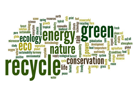 Conceptual ecology word cloud background photo