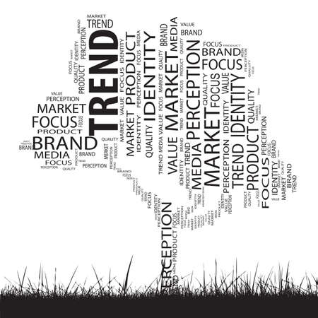 Conceptual business trend tree word cloud grass background photo