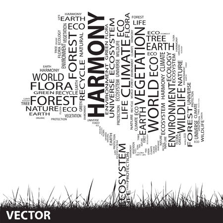 Conceptual ecology tree word cloud grass background Vector