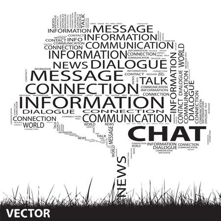 Conceptual communication tree word cloud grass background Vector