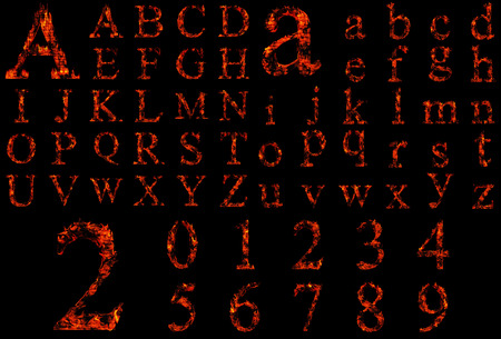 Conceptual hot red fire flame font isolated on black photo