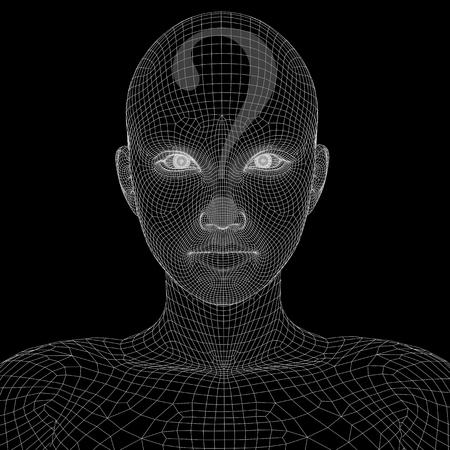 疑問符の付いた概念 witreframe またはメッシュ女性顔 写真素材