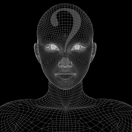 Conceptual witreframe or mesh woman face with a question mark Banco de Imagens