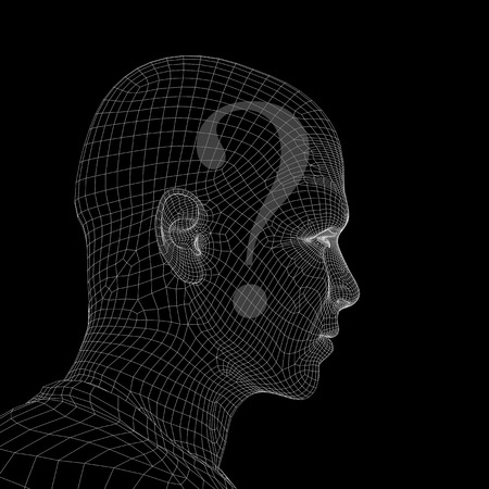 Conceptual witreframe or mesh man face with a question mark photo