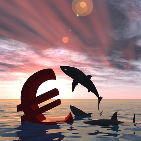 Conceptual business crisis with euro symbol at sunset in water photo