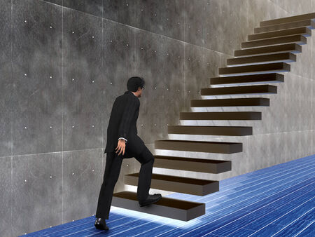 Conceptual business man climbing a stair over a wall and floor photo