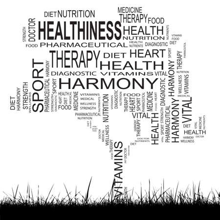 Conceptual health tree word cloud grass background photo