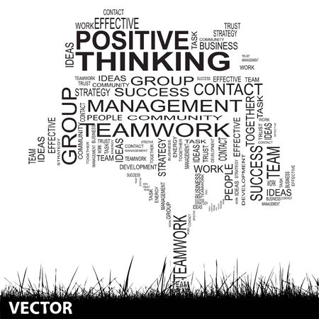 Conceptual business tree word cloud background Vector