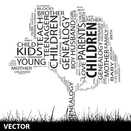 Conceptual education tree word cloud grass background Vector