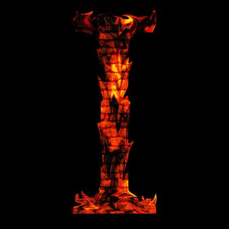 Conceptuele hete rode vlam lettertype geïsoleerd op zwart