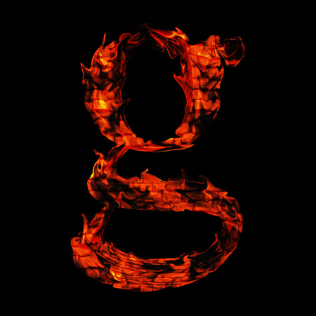 Conceptual hot red fire flame font isolated on black