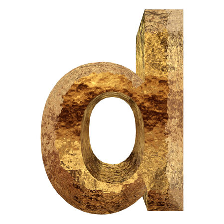 Yellow gold or golden metal fonts isoalted on white photo