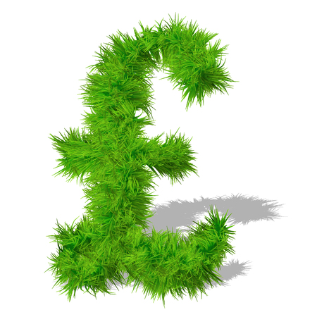Conceptual green grass 3D font isoalted on white background Stock Photo