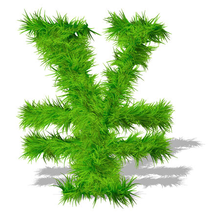 Conceptual green grass 3D font isoalted on white background photo