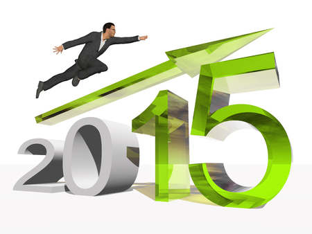 year increase: Conceptual 2015 year with an arrow and a business man isolated on white Stock Photo