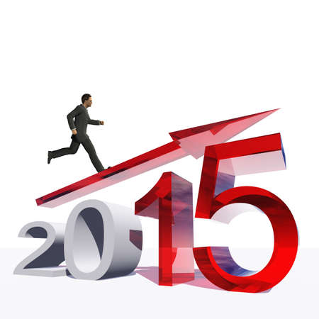Conceptual 2015 year with an arrow and a business man isolated on white photo