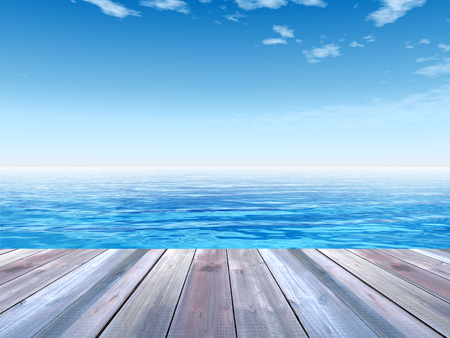 Concept or conceptual wood deck over blue sea and sky photo