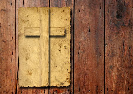 old vintage: Old vintage Christian paper cross over wood wall background Stock Photo