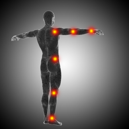 Conceptual wireframe human or man anatomy body with joint pain Stockfoto