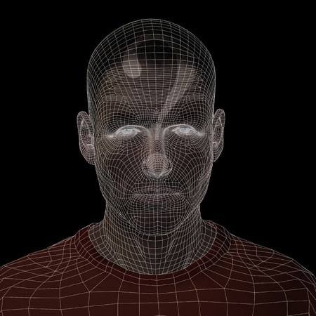 Conceptual witreframe or mesh man face with a question mark
