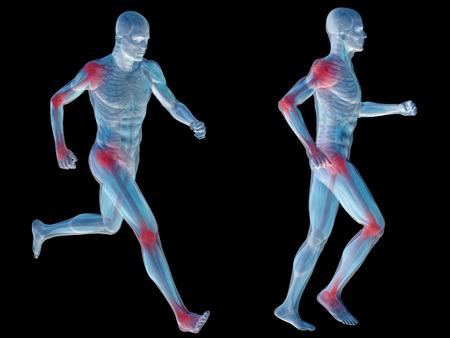 Geïsoleerd conceptuele 3D menselijke man anatomie gewrichtspijn lichaam