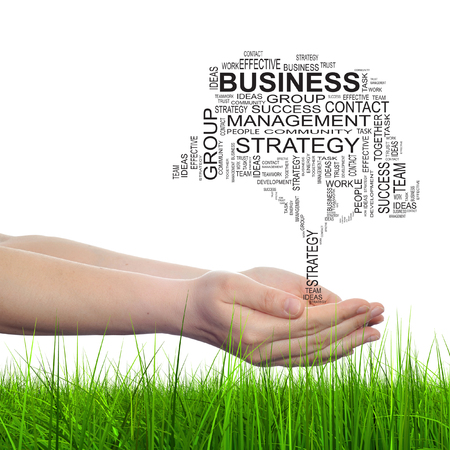 Conceptual business tree word cloud hand background photo