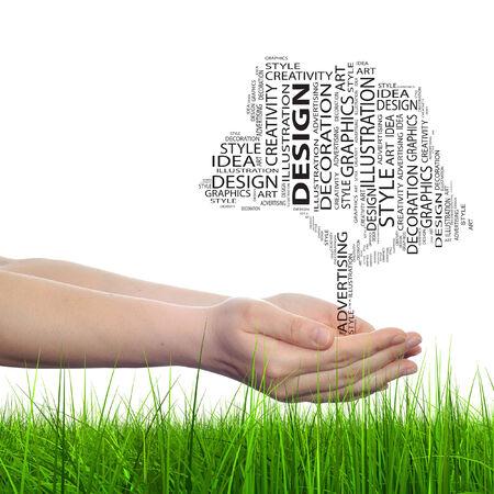 Conceptual art design tree word cloud hand background photo