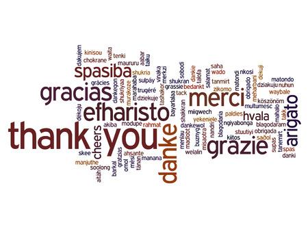 개념적 감사 단어 구름 비즈니스 또는 추수 감사절에 격리