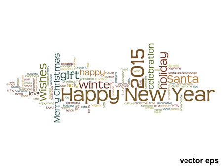Vector conceptual Happy New Year 2015 word cloud concept isolated Illustration