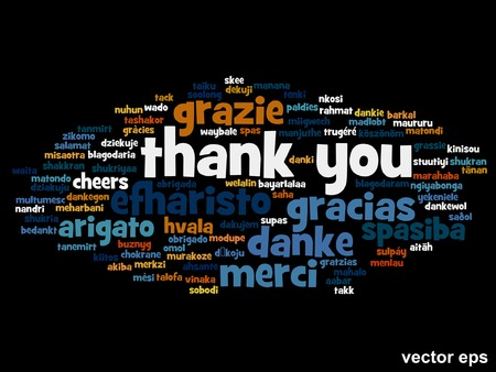 Vector conceptual thank you word cloud isolated for business or Thanksgiving Day Vector