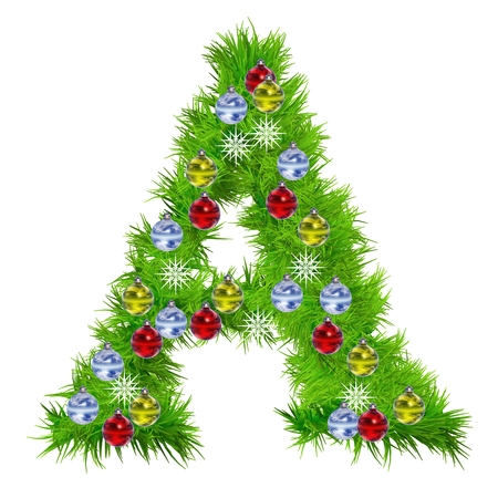 3D green grass or fir tree Christmas font with ornaments isolated photo