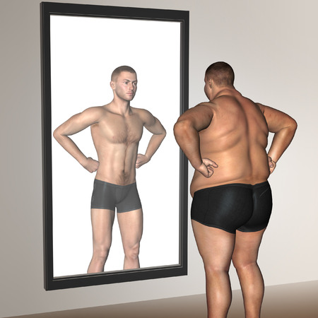 looking after: Human man fat and slim concept in mirror for health or sport Stock Photo