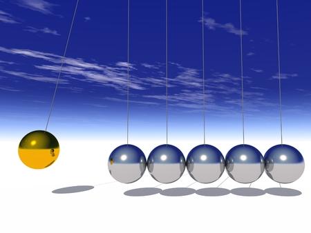 Konzept oder konzeptionelle 3D Silber und Gold Kugel Pendel über Himmel Hintergrund Standard-Bild - 34884167