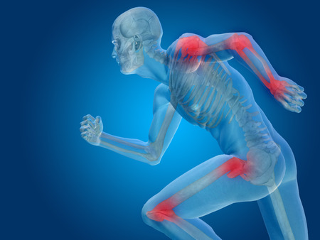 hombros: Conceptual anatom�a del cuerpo humano del dolor articular en el fondo azul