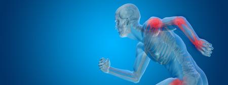 Konzeptionelle menschliche Körper Anatomie Gelenkschmerzen auf blauem Hintergrund Standard-Bild - 34884230