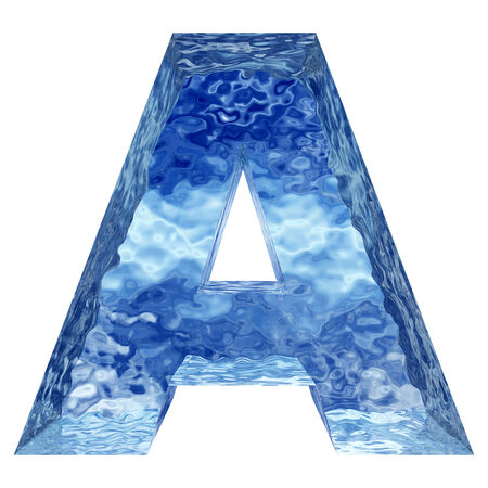 Blue ice or water fonts isoalted on white background photo