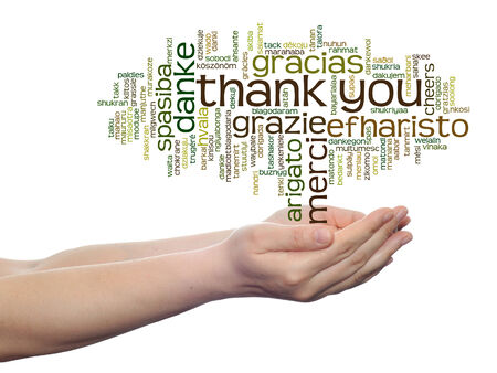 Conceptual thank you multilingual word cloud in hands isolated on background photo