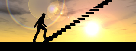 Conceptual business man climbing a stair over sky at sunset background banner