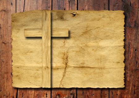 Jezus: Stare zabytkowe Krzyż papieru na tle ściany z drewna