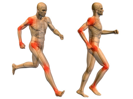 Conceptual 3D human man anatomy joint pain body isolated Imagens
