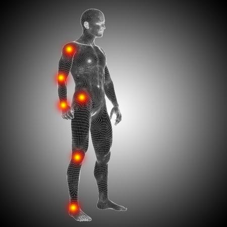 概念的なワイヤ フレーム人間または人間解剖体と関節痛 写真素材