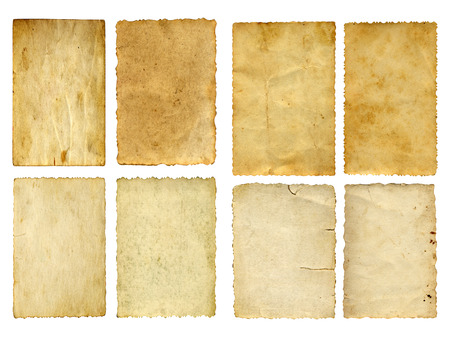 tektura: Starego rocznika papieru banery ustawione lub kolekcji samodzielnie na białym tle Zdjęcie Seryjne