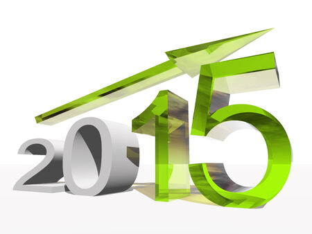 profit celebration: Conceptual 2015 year with an arrow isolated on white background