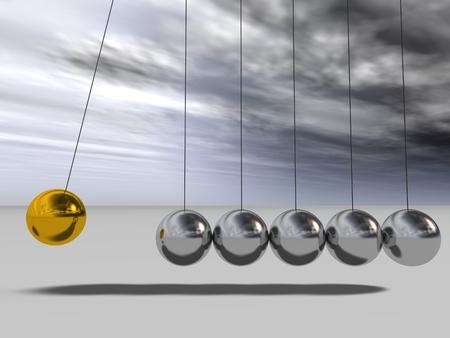 概念または概念 3 D シルバーおよびゴールド球振り子の空を背景に