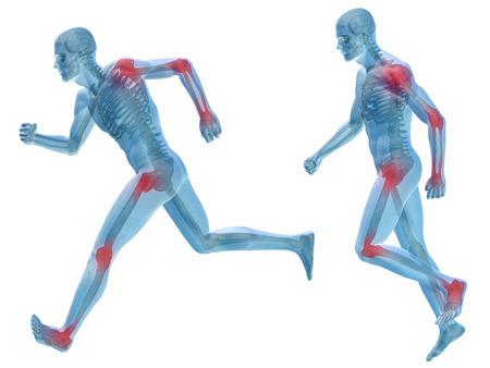 epaule douleur: Corps de douleurs articulaires conceptuel 3D de l'anatomie de l'homme humain isol� Banque d'images