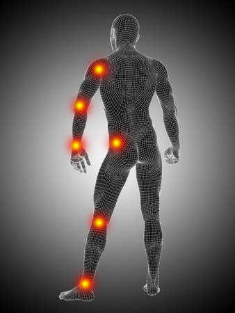 Conceptual wireframe human or man anatomy body with joint pain Banco de Imagens