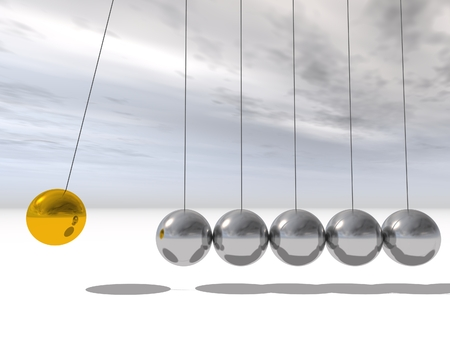 Concept or conceptual 3D silver and gold sphere pendulum over sky background