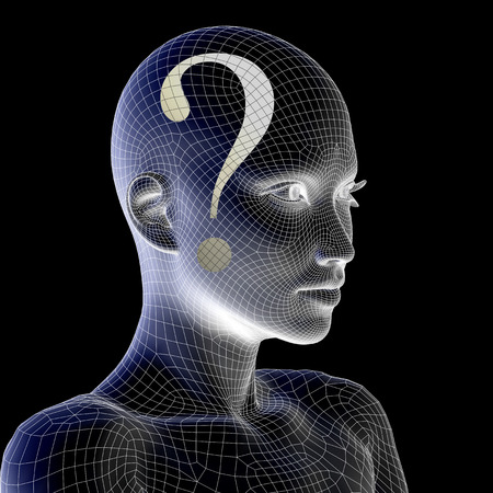 Conceptual witreframe or mesh woman face with a question mark Standard-Bild