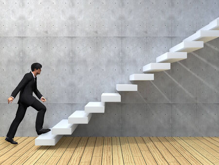 ascend: Conceptual business man climbing a stair over a wall and floor