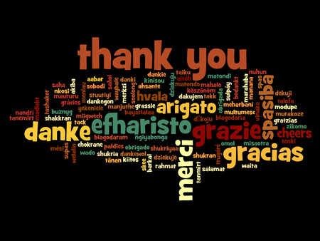 with thanks: Conceptual thank you word cloud isolated for business or Thanksgiving Day